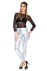 FUTURO FASHION - Knöchellange Leggings mit hohem Bund - sexy Latex-Lederimitat - matt & glänzender Wet-Look - Silberfarben - 36