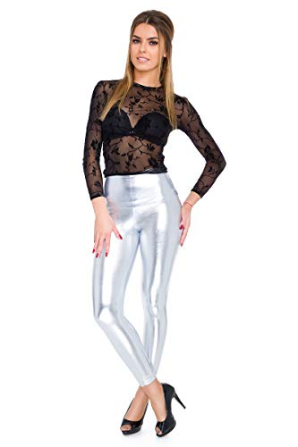 Metallic Kostüm Leggings - FUTURO FASHION - Knöchellange Leggings mit hohem Bund - sexy Latex-Lederimitat - matt & glänzender Wet-Look - Silberfarben - 38