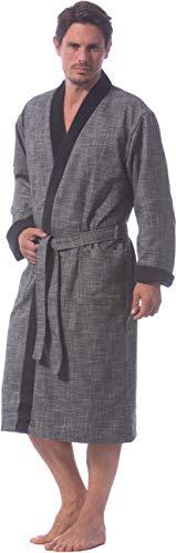 Bugatti, Herren Bademantel mit Kimonokragen, Farbe grau, Größe M, lang, Morgenmantel