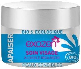 Exozen Soin Visage Hydratant et Anti Äge à l'Huile d'Inca Inchi Pot en Verre 50 ml Peaux Sèches et Sensibles