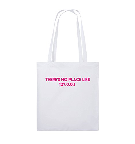 Comedy Bags - THERE'S NO PLACE LIKE 127.0.0.1 - Jutebeutel - lange Henkel - 38x42cm - Farbe: Schwarz / Silber Weiss / Pink