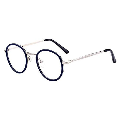 Zhuhaixmy Damen Männer Unisex Jahrgang Runden Felge Anti-UV Beschichtung Goggles Kurz Entfernung Kurzsichtig Kurzsichtigkeit Komfortabel Brille (Stärke -4.0, Blau) (Diese sind nicht Lesen Brille)