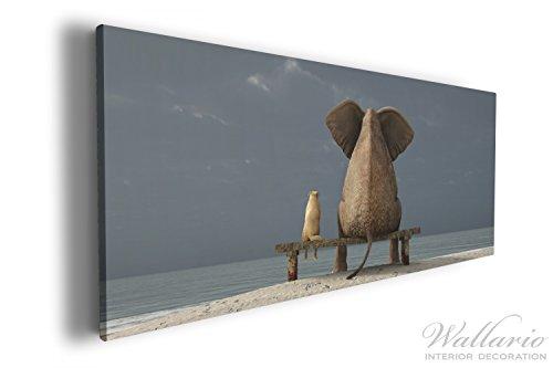 Wallario XXL Wallario Leinwandbild Elefant und Hund sitzen auf einer Bank - 60 x 150 cm in...