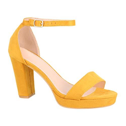 Elara Damen Pumps   Knöchelriemchen Sandaletten   Bequeme High Heels   Chunkyrayan WW100 Yellow-38 Damen High Heel Pumps