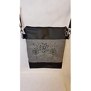 Handtasche Pusteblume Umhängetasche Pusteblume grau schwarz Kunstleder mit Anhänger Tasche Geschenk