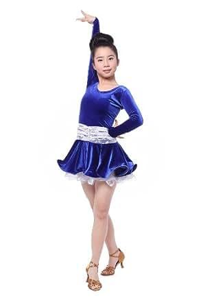 Colorfulworldstore Reguläres Mädchen/Frauen Turnierkleid für Lateinamerikanische Tänze-Cha cha cha Latin Rumba Samba Kleid-Langärmeliges tailliertes schwingendes Kleid (Mädchen-S-95cm Höhe, Blau + Weiße Spitze)