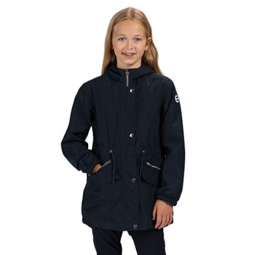 Regatta Tamora Waterproof and Breathable Fishtail Hem Hooded Outdoor Chaqueta, Infantil, Azul Marino...