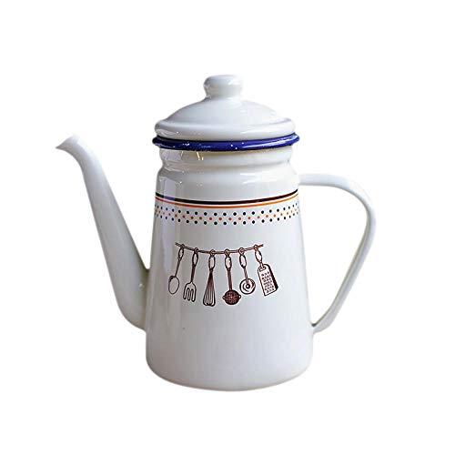 Emaille-Topf 1100 Ml Japanischen Stil Emaille Kaffeekanne Beheizbarer Wasserkocher Tee Krug Krug Für Offene Flamme Induktionsherd Küche Öl Topf
