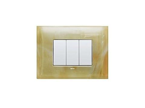 Switch Light Plate inVetro compatible Bticino Living Light / Models VANIGLIA Q 204 / 3 Modules