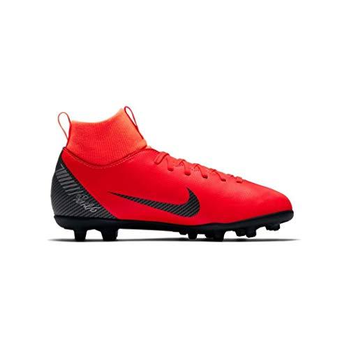 Nike jr superfly 6 club cr7 fg/mg, scarpe da calcio unisex-bambini, multicolore (bright crimson/black/chrome 0), 37.5 eu