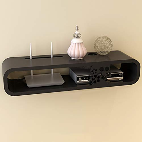 Fen Floating Regal Schwimmendes Regal, Wandmontiertes TV-Schrank Regal TV-Konsolen-Router Regal DVD-Set-Top-Box Telefonablage (Farbe : SCHWARZ, größe : 26cm) -
