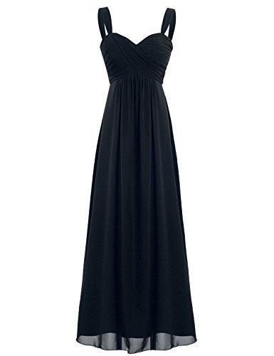 iEFiEL Elegant Damen Kleider Sommer Chiffon Kleid Lang Cocktailkleid Abendkleider Hochzeit Party Kleider Gr. 36-46 Schwarz 46 (Herstellergröße: 16) (Abendkleid Kleid Hochzeit Party)