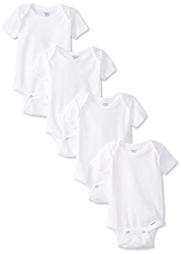 Gerber Unisex Neugeborene 4Stück Bio Einteiler Marke, Weiß, 3–6Monate (Neugeborenen Gerber Onesies)