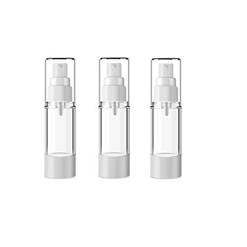 0.5 Unze Parfum Spray (3 STÜCKE 15 ML 0,5 UNZE Leere Nachfüllbare Transparente Kunststoff Airless Vacuum Bottle Dispenser Tragbare Parfüm Toner Flasche Phiolenhalter Kosmetische Vorratsbehälter)