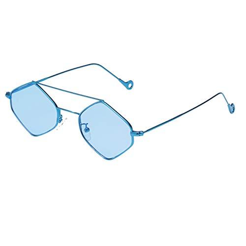 (REALIKE--Sonnenbrillen für Damen Oversized Sechseck Gestalten Sunglasses Gespiegelt Eben Linsen Metall Rahmen Brille Klassische Schwarz Retro Vintage Verspiegelt UV400)