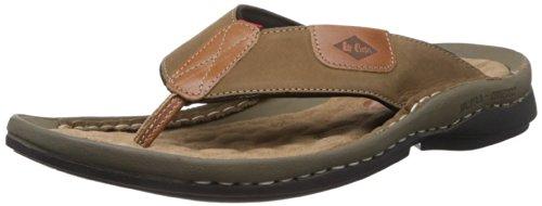 baedfd4c3a5 Lee Cooper Men s Olive Leather Outdoor Sandals - 6 UK