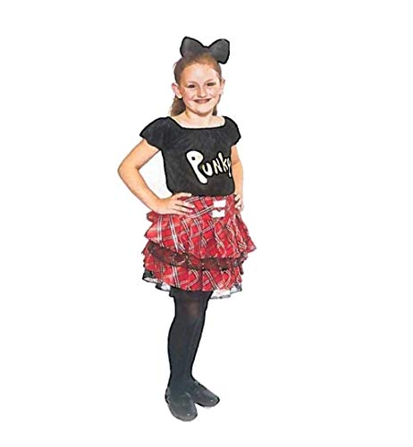 KarnevalsTeufel Kinderkostüm Punky 2-tlg. Rock im Schottenmuster und -