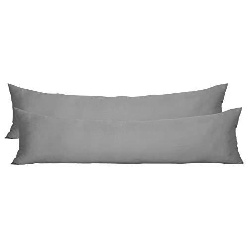 WOLTU KB5126dgrQ2, 2er Set Kissenbezug Kissenhülle 100% Baumwolle mit Reissverschluss 40x145 cm, Doppelpack Seitenschläferkissenbezug Schwangerschaftskissenbezug Stillkissenbezug Hülle, Dunkelgrau