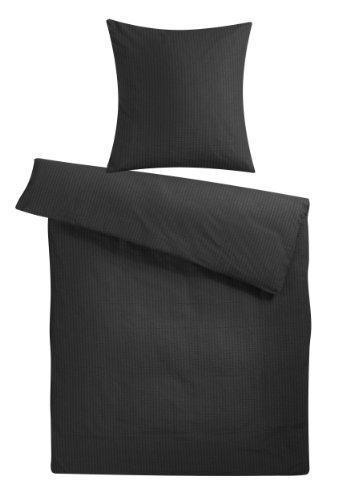 Carpe Sonno Seersucker Bettwäsche-Set Nera 155x220 cm uni Schwarz - Bettdecke und Kopfkissen-Bezug aus 100%-Baumwolle mit Reißverschluss - Der bügelfreie & luftig leichte Bett-Bezug für den Sommer -