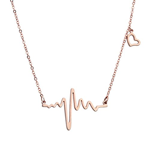 Einfach Women Schmuck Rostfreier Stahl and Rose Vergoldet with Herz Charme EKG Heartbeat Pendant Halskette