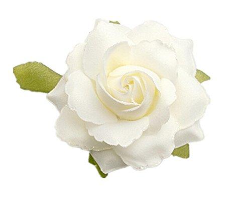 Haarschmuck Kopfschmuck Haarblume Blumen Haarspange Damen Accessoires Flower Blüten mit Sicherheitsnadeln (creme)