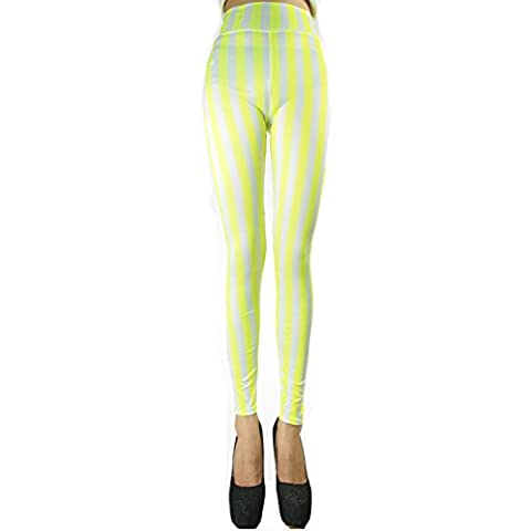 LOCOMO Leggings - Legging - Femme Jaune yellow and white