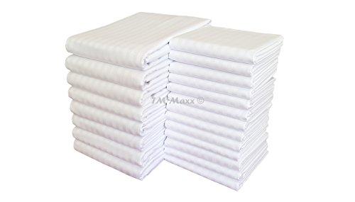 Hotelbettwäsche Satinbaumwolle Damast mit Streifen 155g/m2 Kissenbezug Bettbezug diverse Ausführungen (40 x 80 cm, Weiß + graue Streifen (Streifenbreite 1 cm)) - Damast Streifen Bettbezug