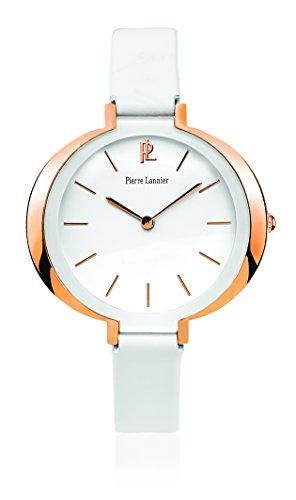 Pierre Lannier - 035Q900 - Week End Ligne Pure - Montre Femme - Quartz Analogique - Cadran Blanc - Bracelet Cuir Blanc