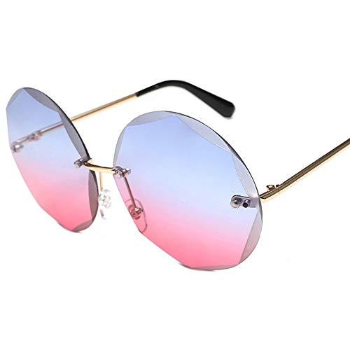 MJDABAOFA Sonnenbrillen,Runde Rahmenlose Sonnenbrille Farbverlauf Gold Frame Bule-Pink Objektiv Frauen Trends Großen Kreis Gradient Transparente Sonnenbrille Uv400