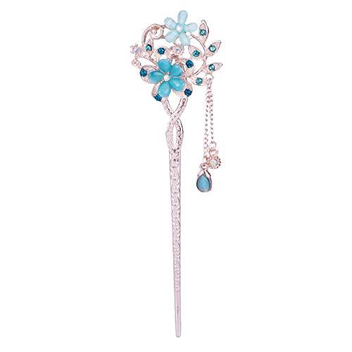 Frcolor Vintage Haar Stick Opal Blume Haar Stäbchen Haar Dekor Chinesische Haarnadeln Alten Haarspange (blau)