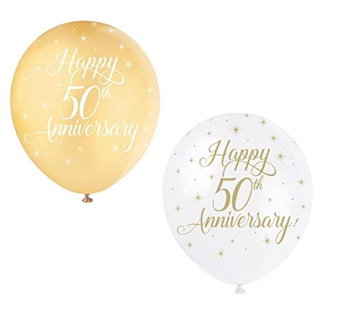 Unique party 56125 - palloncini in lattice perlato - 30 cm - happy 50th anniversary -  assortimento di 5
