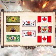 AOXT Blechschilder Nummernschild Club Wanddeko Kanada South-America National Shop Retro