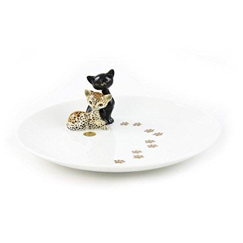 Goebel 66-800-14-5 Porzellan-Teller mit Katzenpaar Kitty de Luxe Leopard -