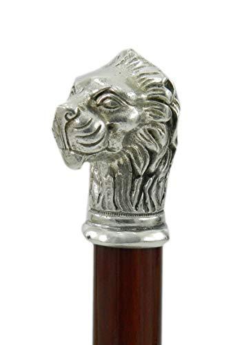 CAVAGNINI Italy Spazierstock Holz Silber Zinn Griff schwarz elegant Hand gefertigt solide und robuste Stick Modell lion Damen Orthopäde -