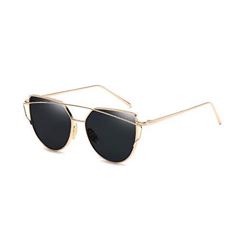 Eye-nak® Mode Katzenaugen Cat eye Sonnenbrille Für Damen UV400 Metall Rand Rahmen verspiegelte Linsen (C2 Rahmen Gold/Glas Schwarz)