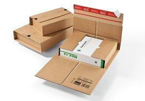 1 Verpackungseinheit (20 Stück) starke Universal-Versandverpackungen<br/>Innenmaße: L 350 mm x B 260 mm x H -70 mm<br/>passend für B4<br/>199 g, braun