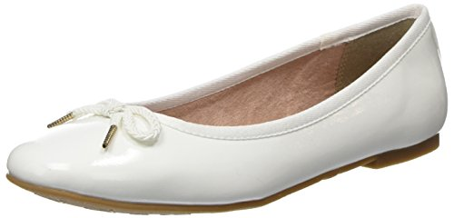 Tamaris Damen 22123 Ballerinas, Weiß (White Patent), 38 EU