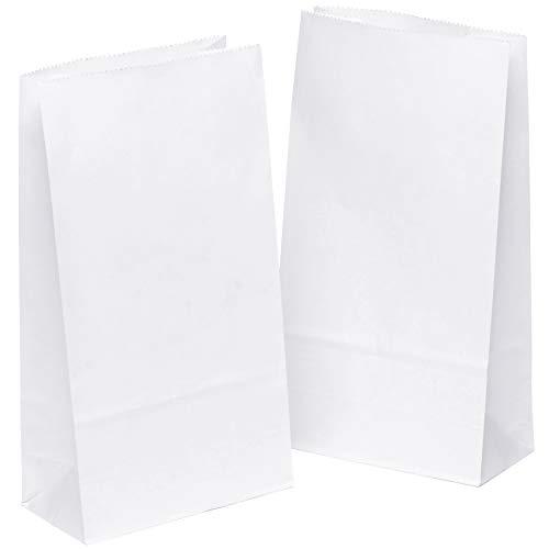 50 Stk. Papiertüten klein 14 x 26 x 8 cm Praktische Bodenbeutel, auch, Obstbeutel, Mitgebseltüten, Butterbrottüten, Süßigkeiten, Geschenkverpackung, Gastgeschenke Tüten aus Weiß Kraft Geschenkpapier