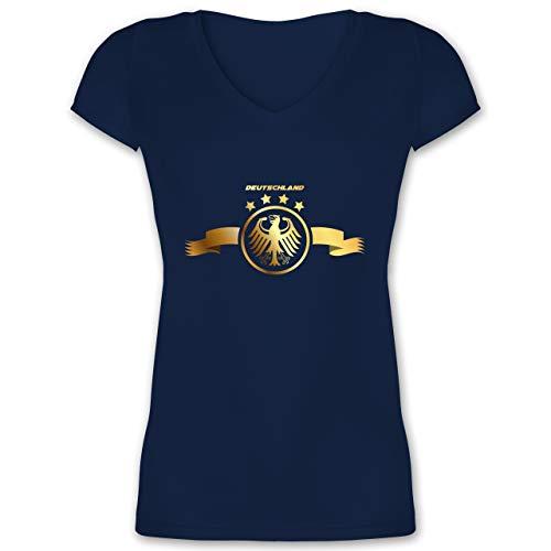 Fußball-Europameisterschaft 2020 - Deutschland Adler Gold - M - Dunkelblau - XO1525 - Damen T-Shirt mit V-Ausschnitt