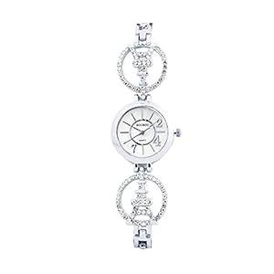 Armbanduhr Damen Luotuo Mode Retro Design Analoge Quarz Uhren Wrist Watch Mit Weiß Kleine Kristall Zifferblatt Wasserdicht Uhr für Frauen Mädchen Geschäft Freizeit Watch Handschmuck