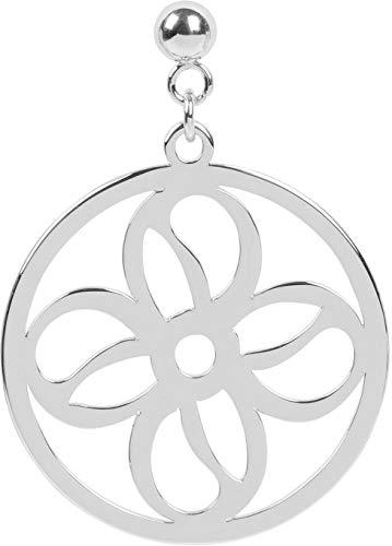 styleBREAKER Damen Edelstahl Ohrringe mit rundem Blumen Ornament Anhänger mit Stecker, Ohrhänger, Ohrschmuck 05090013, Farbe:Silber