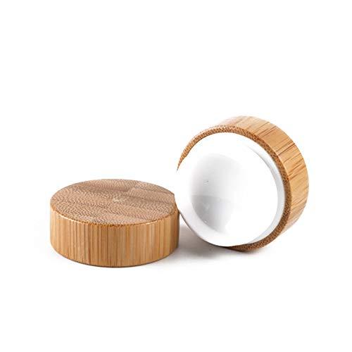 Rocita One Pack Bamboo récipient cosmétique Maquillage en Bois Pot Pot échantillon Ronde crème Voyage récipient avec Bouchon à vis pour Couvercle Ombre à paupières, Ongles, Poudre, Peinture 50 g