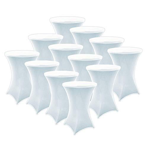 FDBW Stehtischhussen Weiß x 12 - Stehtisch Rock - Stehtisch Tische Rock - Bistrotisch - Stretch - ∅80-85 x 110 cm - für Gaststättengewerbe Ereignis   Cocktailparty   Stretchhusse   Tischhusse