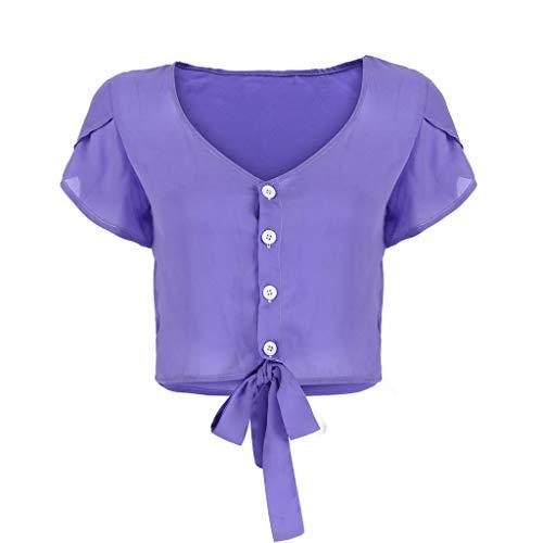 Andouy Damen Kurzes Oberteil mit V-Ausschnitt Blütenblatt Kurzarm Taille Bluse Gr.36-44 Bow Bolero Cover-up(2XL(44),Lila)