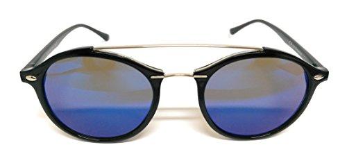 Takestop® occhiali da sole con arco con lenti colorate con custodia donna uomo unisex specchio specchiati outfit telaio in metallo polarizzato uv protezione uv400 (nero / blu verde bicolore)