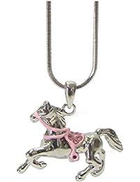 Schmuckanthony Kette Kinder Mädchen Schmuck Collier Halskette Pferd Emaille Kristall Rosa Pink