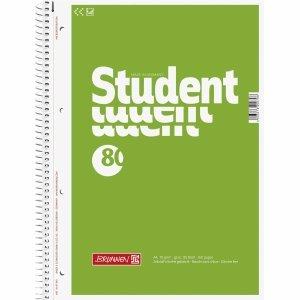 Brunnen 5 x Kollegblock Student A4 70g/qm blanko 80 Blatt grün