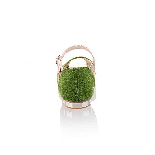 VogueZone009 Femme Suédé Boucle Ouverture Petite Non Talon Couleurs Mélangées Sandales à Plat Vert