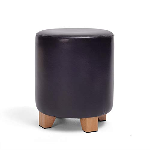 ZHAS Fußhocker Fußhocker Leder mit Deckel, rundes Osmanisches Holzbein, gepolstert, multifunktionaler Fußstützensitz erhältlich, schwarz für Wohnzimmer, max. Belastung, 150 kg (Höhe 2) (Größe: 29 -