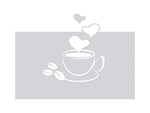 GRAZDesign 980122_90x57 Sichtschutzfolie Kaffee-Tasse mit Herze   Blickdichte Glasdekorfolie   Matte...